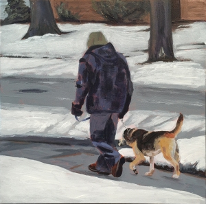 painting of dog walker