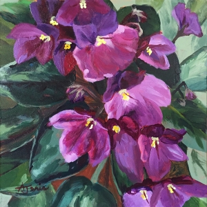 acrylic painting of African violets