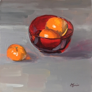 Acrylic painting of tangerines in a red bowl