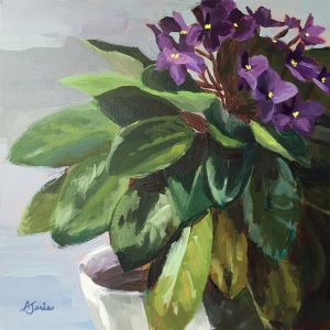 painting of African violets