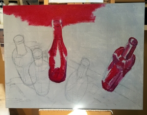 starting acrylic painting of bottles