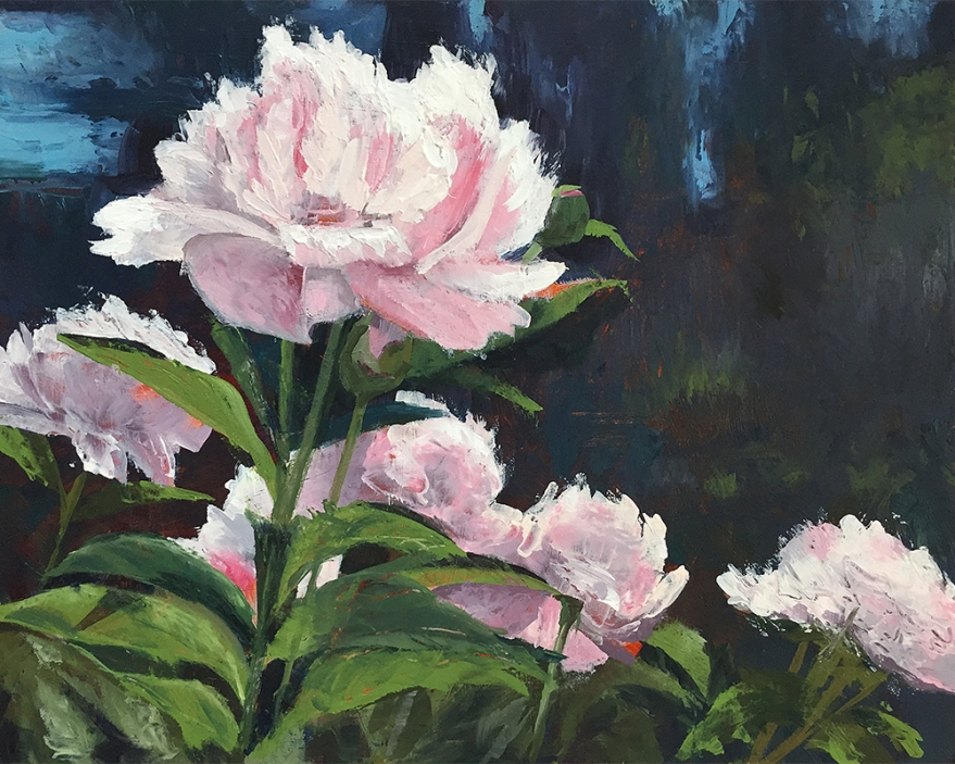 Acrylic painting of pink peonies