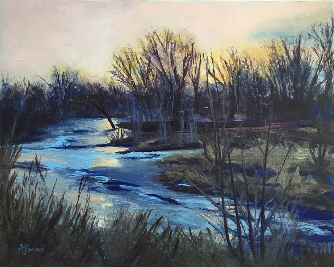 acrylic painting River Twilight
