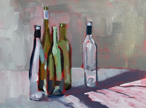 1st painting - bottles