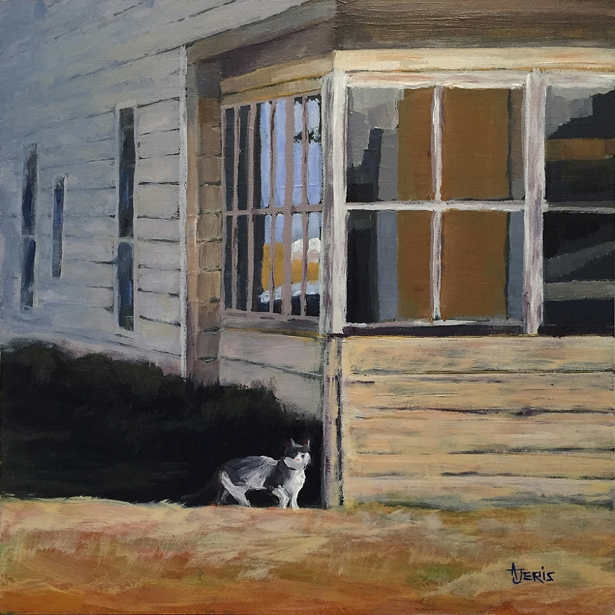 acrylic painting of cat at the old house