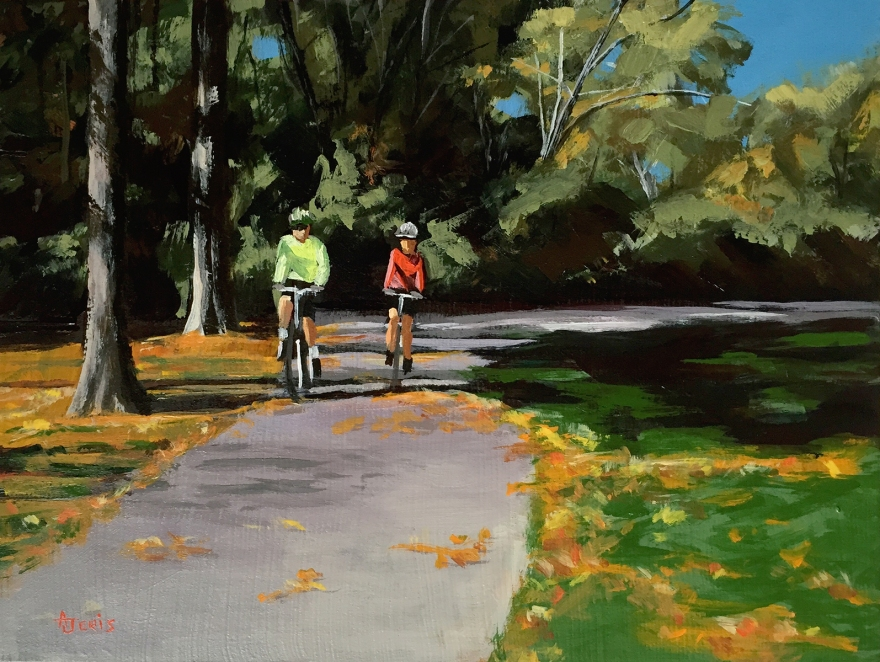 "Bike Riders, 6x8"" acrylic painting"